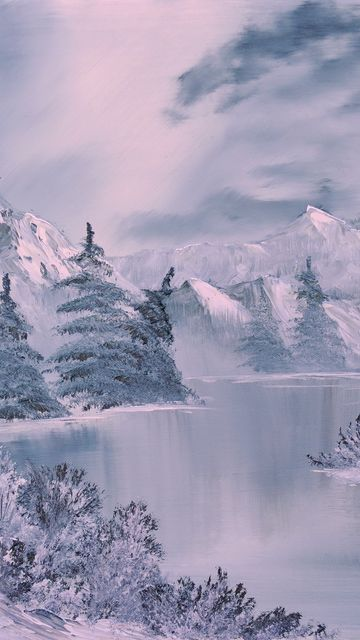 360x640 Wallpaper winter, art, painting, river, fir-trees, lodge, white
