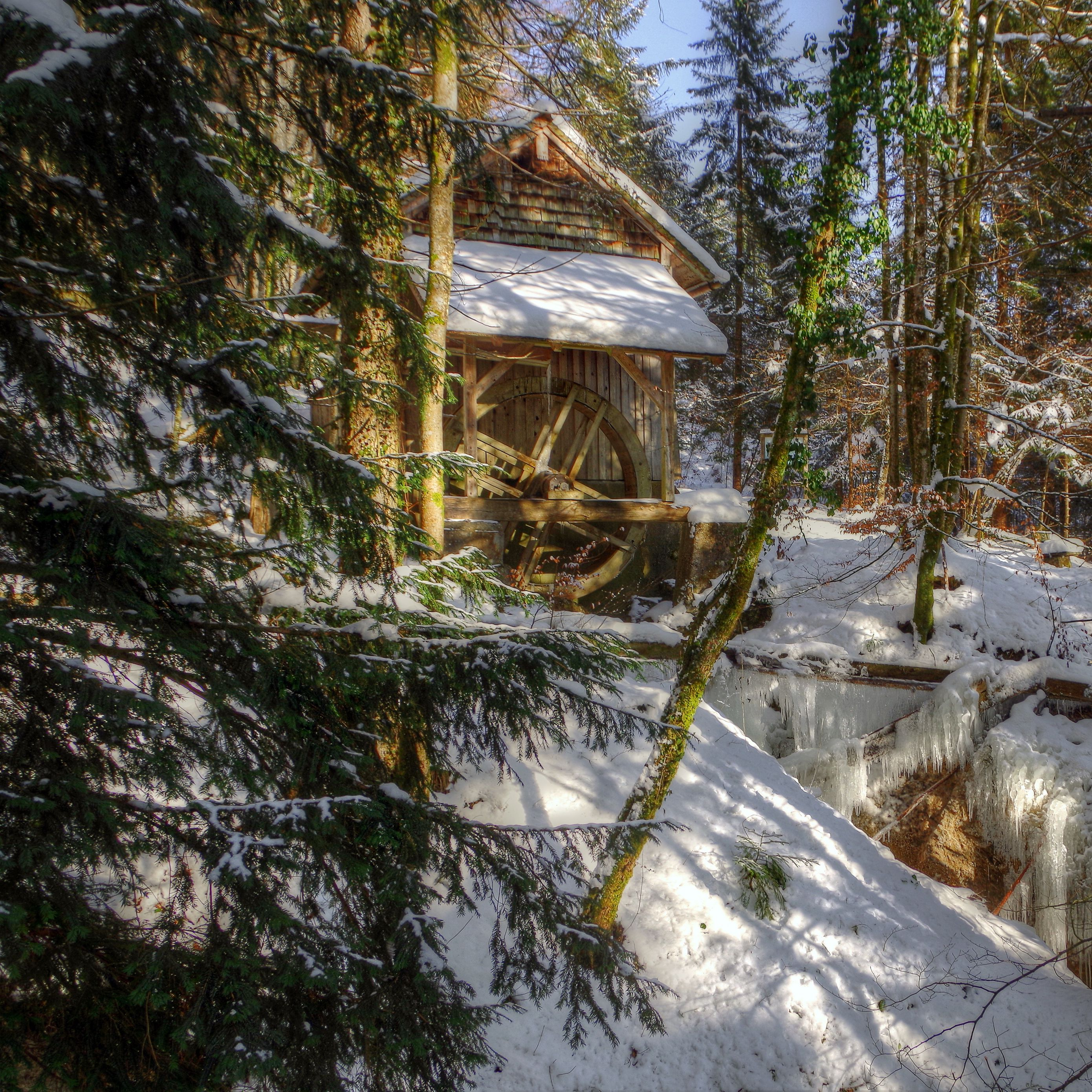 2780x2780 Wallpaper winter, forest, river, mill, landscape