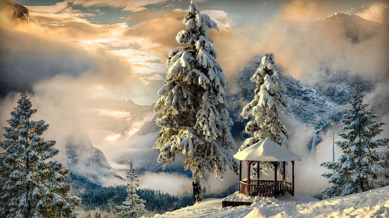 1280x720 Wallpaper winter, gazebo, snow, mountains, fog