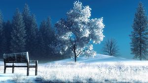 Preview wallpaper winter, landscape, nature, snow, bench, trees