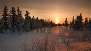 Preview wallpaper winter, snow, sunset, grass