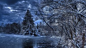 Preview wallpaper winter, trees, river, lake, snow, ice, hdr