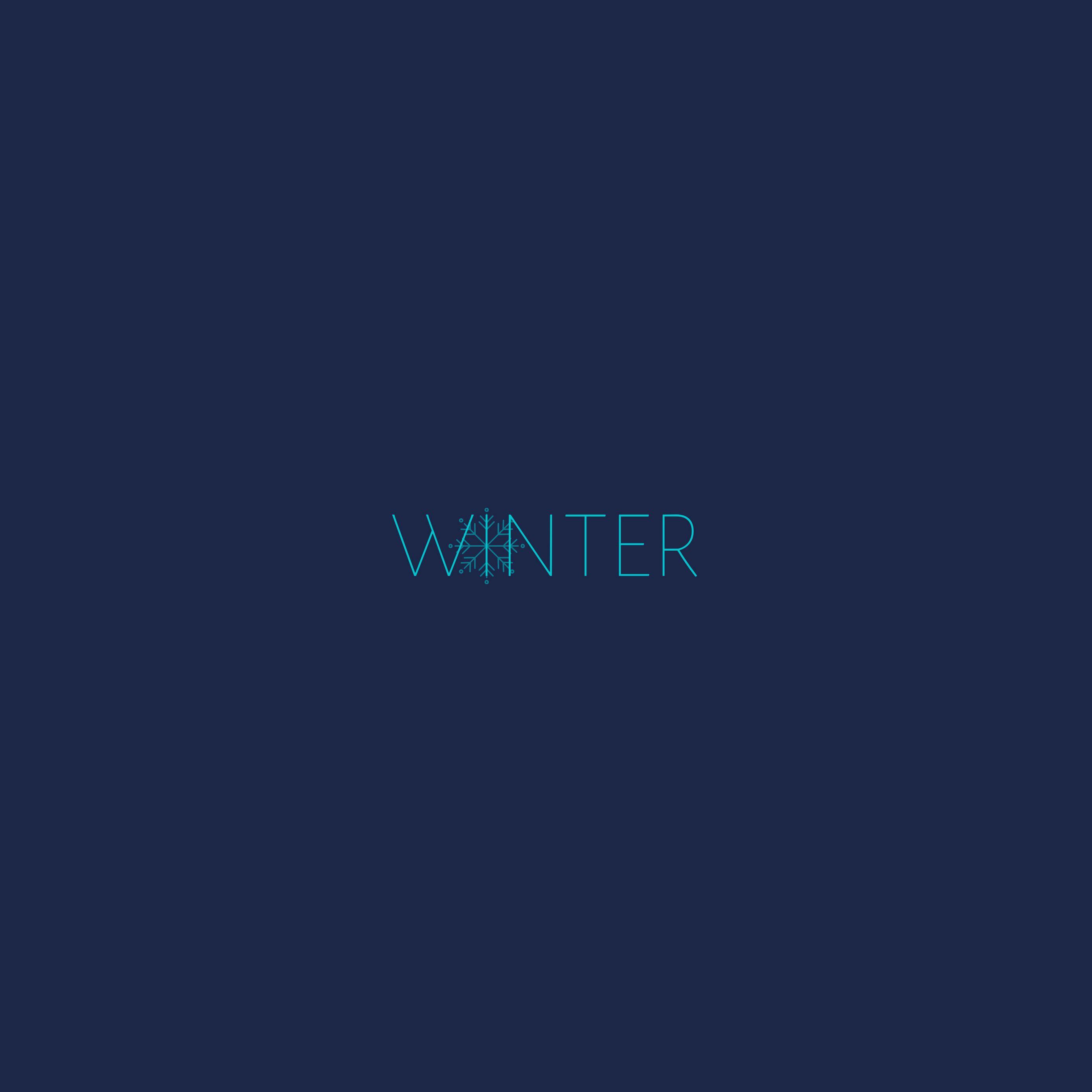 2780x2780 Wallpaper winter, word, snowflake, inscription