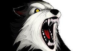 Preview wallpaper wolf, aggression, teeth, vector
