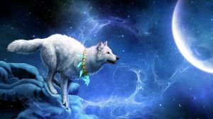 Preview wallpaper wolf, arrivals, moon, breakage