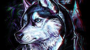 Preview wallpaper wolf, art, glitch, head, trees, lines