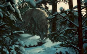 Preview wallpaper wolf, forest, snow, art, predator, trees