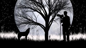Preview wallpaper wolf, full moon, silhouettes, art, vector, photographer