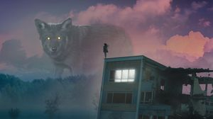 Preview wallpaper wolf, giant, girl, roof, fog, illusion