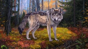 Preview wallpaper wolf, gray, forest, wildlife, art