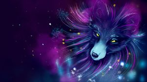 Preview wallpaper fox, art, space, purple