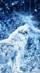 Preview wallpaper wolf, howl, predator, fog, loneliness