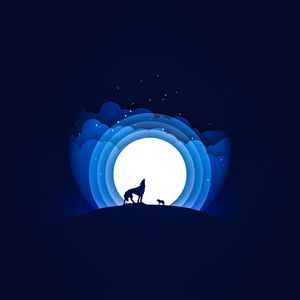 Preview wallpaper wolf, moon, howling, vector