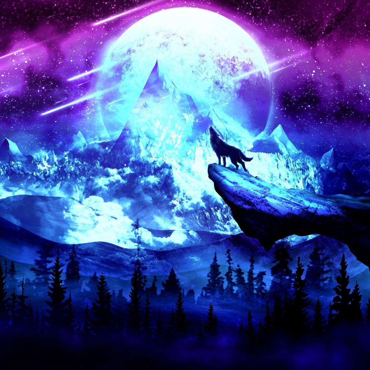 1280x1280 Wallpaper wolf, moon, night, mountains, art