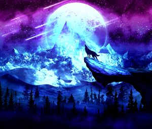 Preview wallpaper wolf, moon, night, mountains, art