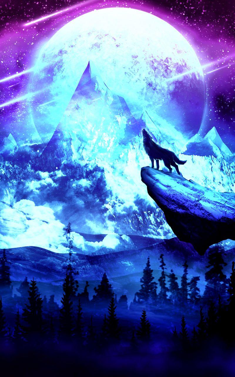 800x1280 Wallpaper wolf, moon, night, mountains, art