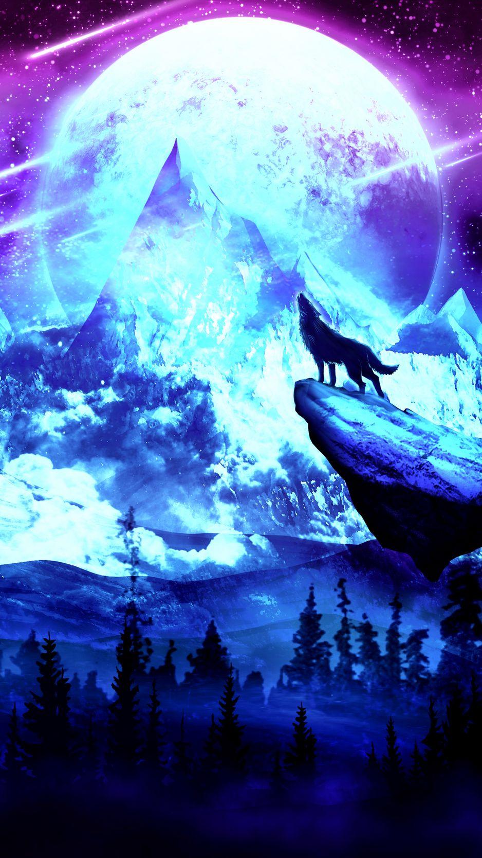 938x1668 Wallpaper wolf, moon, night, mountains, art