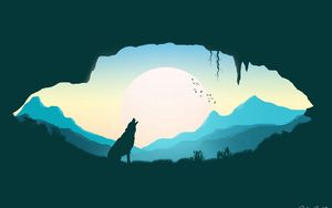 Preview wallpaper wolf, silhouette, art, cave
