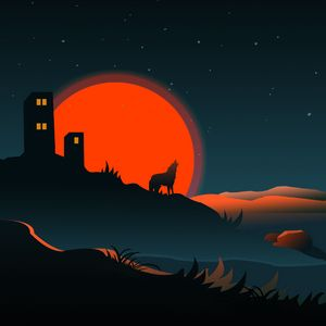 Preview wallpaper wolf, silhouette, building, sun, vector, art