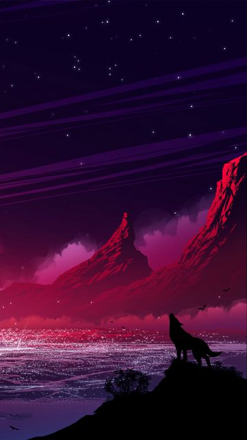 360x640 Wallpaper wolf, silhouette, hills, mountains, loneliness