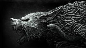 ... Preview wallpaper wolf, teeth, drawing, aggression, black, white