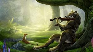 Preview wallpaper wolf, violin, wood, music