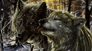 Preview wallpaper wolves, pair, tenderness, tongue, love, snow