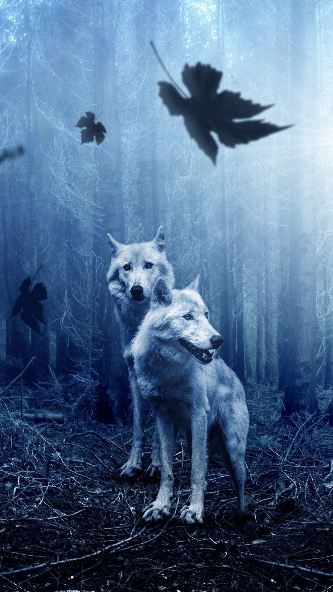 1080x1920 Wallpaper wolves, predators, forest, photoshop
