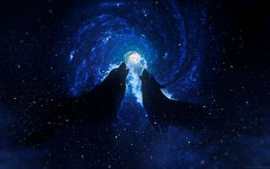 Preview wallpaper wolves, silhouettes, starry sky, art, fantasy