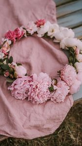 Preview wallpaper wreath, peonies, flowers, pink