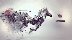 Preview wallpaper zebra, surrealism, inspiration